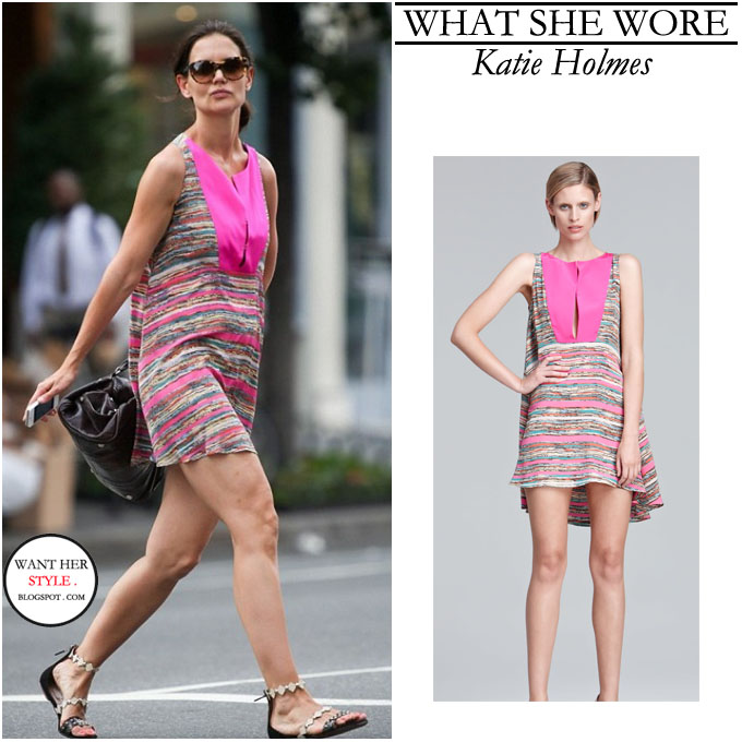 what she wore katie holmes in stripe print pink dress in
