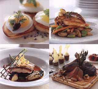 4 pictures - eggs on toast, chicken, fish and steak