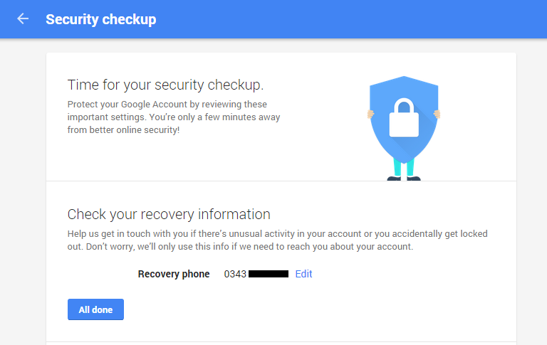 Start security checkup