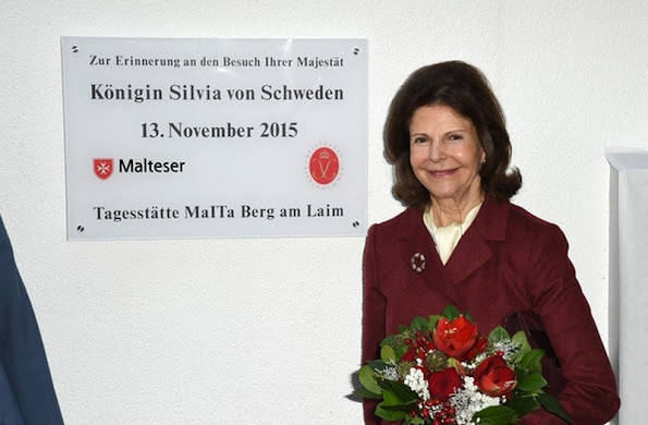 Queen Silvia of Sweden visited the Silviahemmet's Day Centre (German: Tagesstaette der Malteser fuer Menschen in der Fruehphase der Demenz)