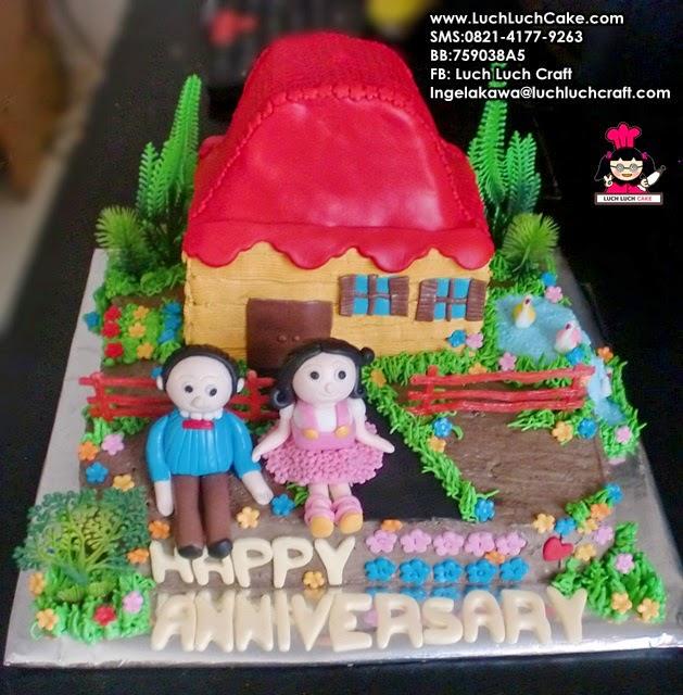 Kue Tart Anniversary Bentuk Rumah