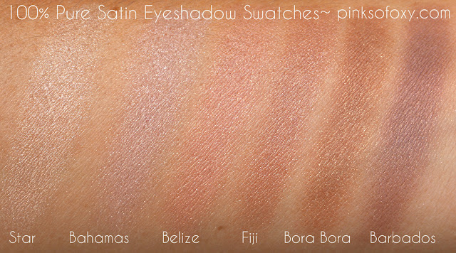 100% Pure Satin Eyeshadow Swatches
