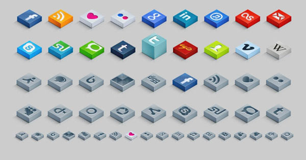 Isometric 3D Social Media Icons