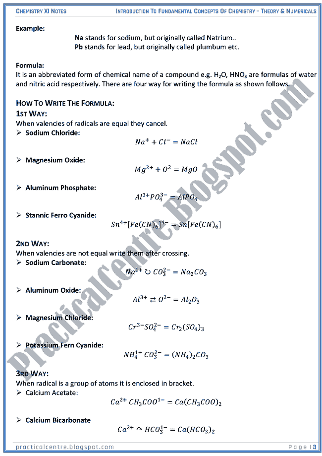 Introduction To Fundamental Concepts Of Chemistry - Theory And Numericals (Examples And Problems) - Chemistry XI