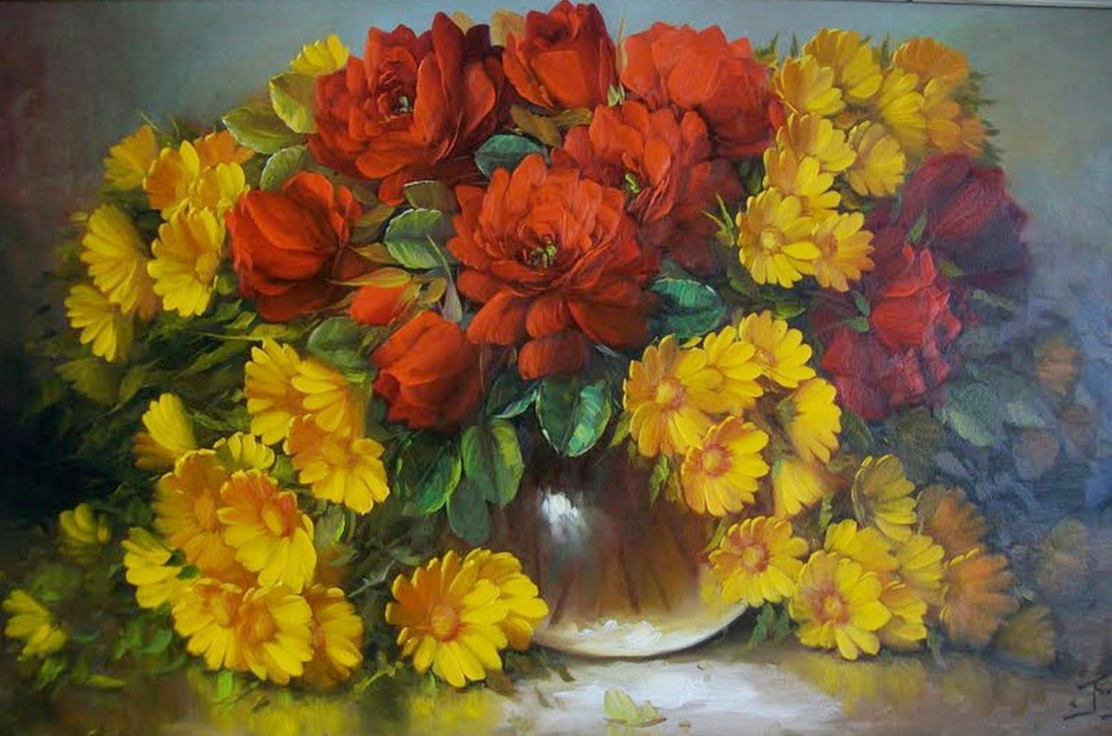 Cuadros modernos pinturas y dibujos pintura - Fotos jarrones con flores ...