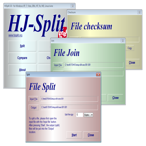 Freeware multi-platform file splitters