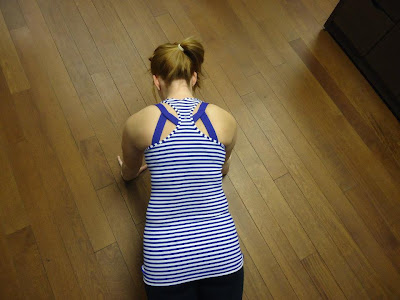 lululemon pigment blue striped cross your heart bra