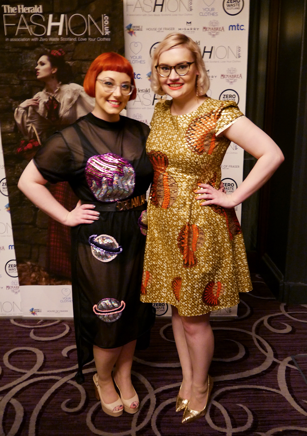 Isolated Heroes, Rowanjoy, Dreamland Clothing, IOLLA frames, Scottish design, Scottish blogger, Zero Waste Scotland, Love Your Clothes, awards party, Grand Central Hotel