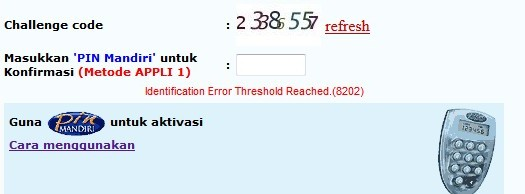 internet banking mandiri error