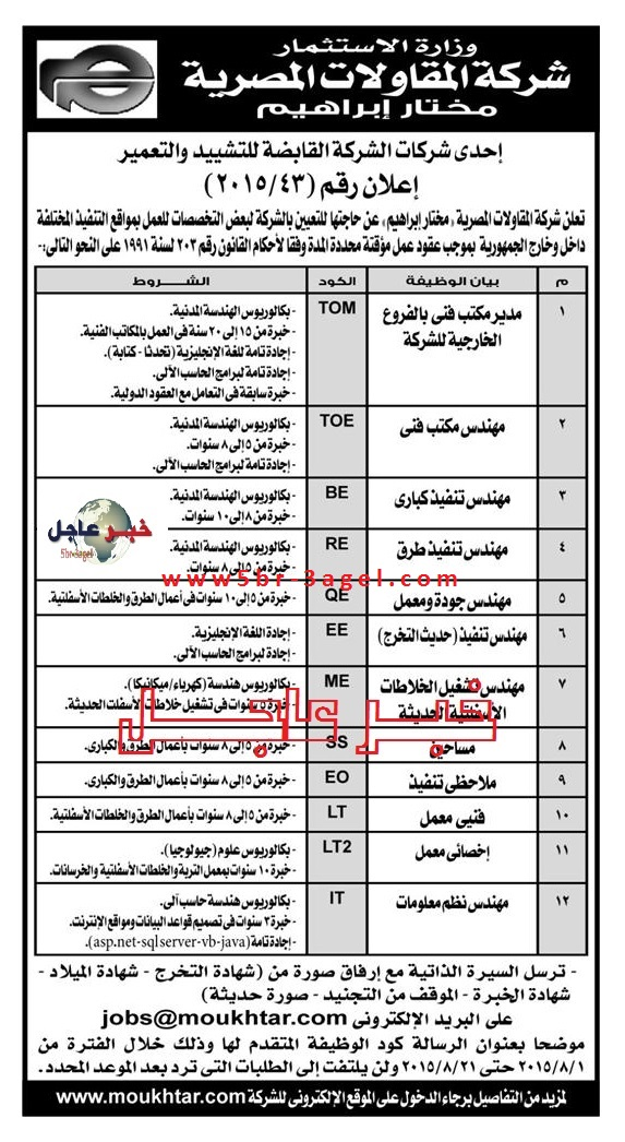 """وظائف وزارة الاستثمار """" شركة المقاولات المصرية """" منشور بالاهرام - التقديم الكترونى الان"""