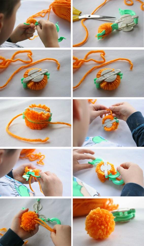 Como hacer muñecos con pompones de lana - Técnicas para hacer pompones - Manualidad2
