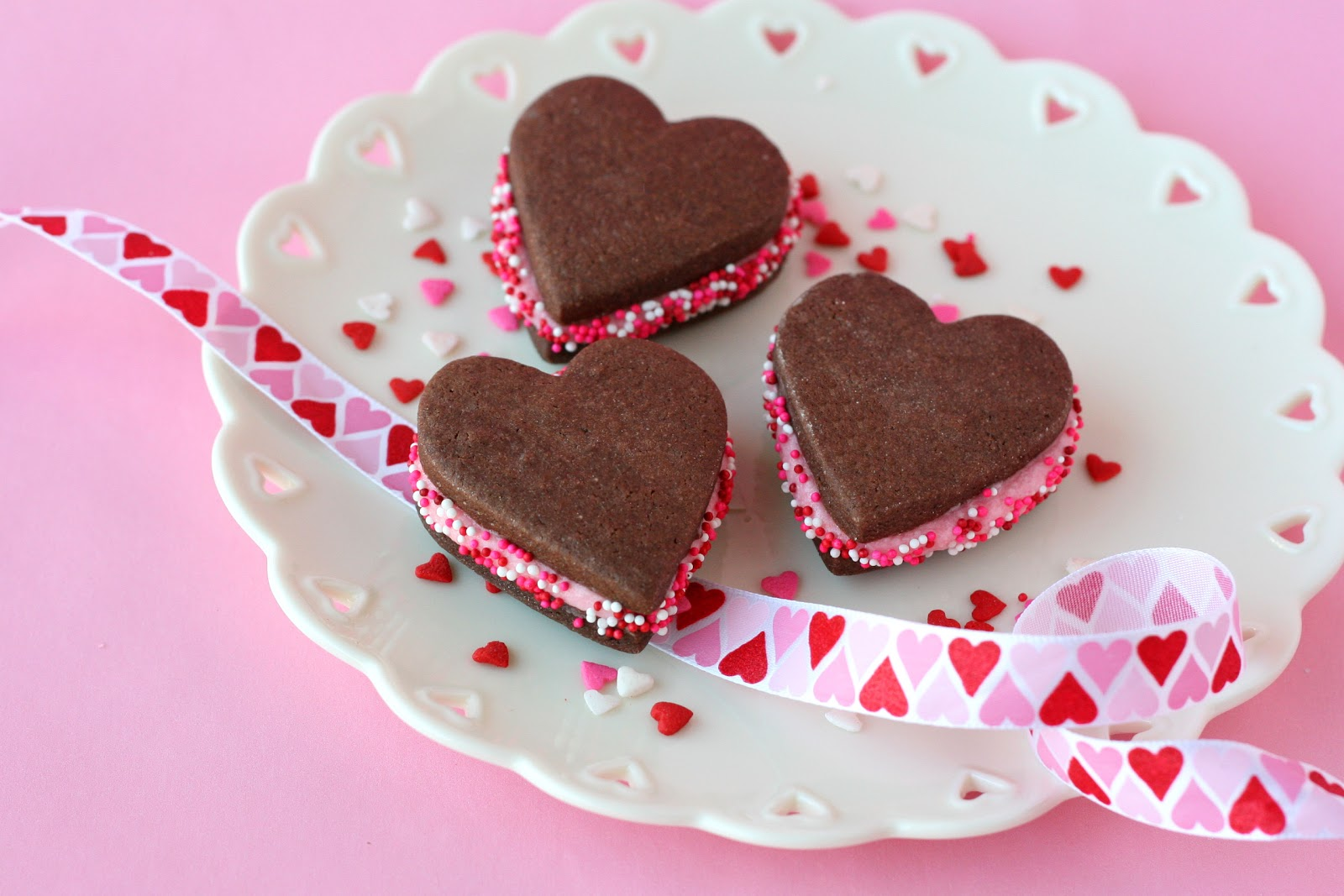 Chocolate Heart Sandwich Cookies Recipe — Dishmaps