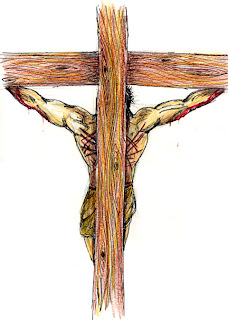 Jesus on wooden cross drawing art