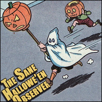 Ghost costume kid and boy with Jack O'Lantern head runs thru streets on vintage 1948 comic panel.