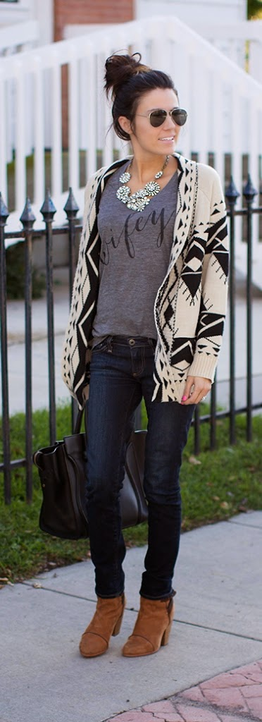 Black and White Cardi with Wifey V-Neck Tee and Gorgeous Necklace | Street Chic