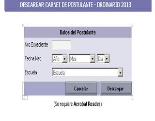 Dónde descargar el CARNET postulante Universidad Nacional San Agustín UNSA 2014 III 21 de Marzo