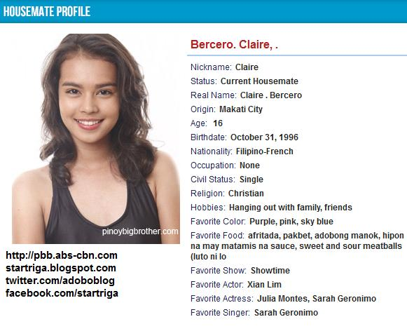 Pinoy Big Brother Teen Edition 4 Housemate Profile: Claire Bercero of Makati ...