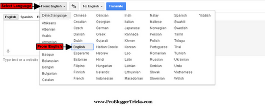 Google Translator tool