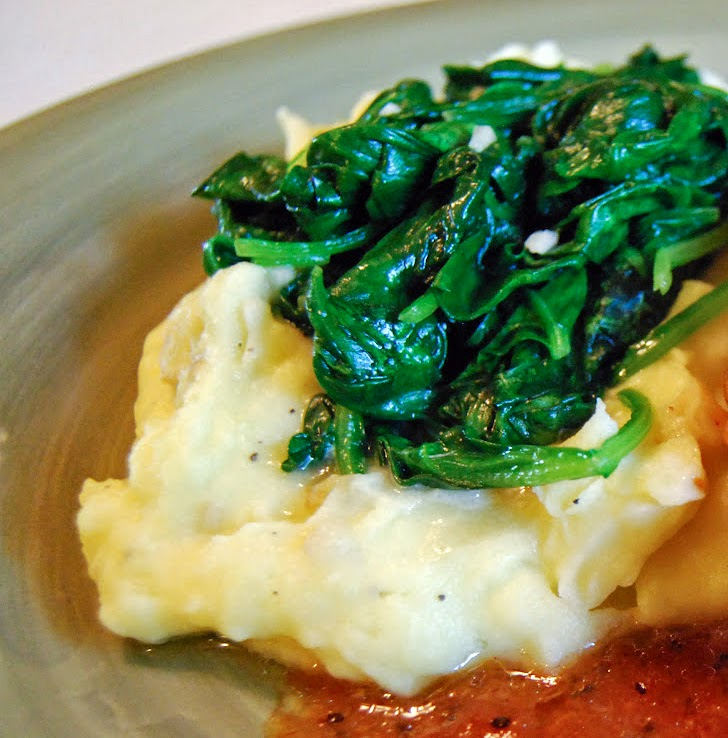 Sauteed Garlic Spinach on Mashed Potatoes