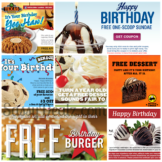 restaurant birthday freebies list 2013