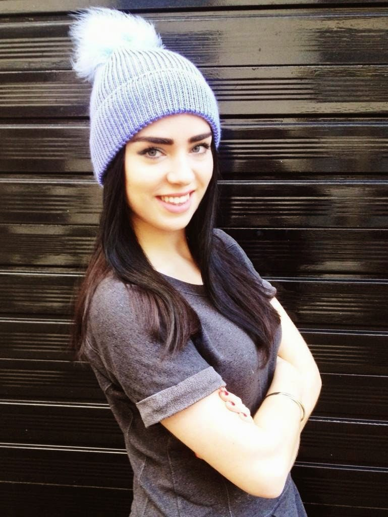 London fashion blogger Emma Louise Layla in River Island lilac bobble hat