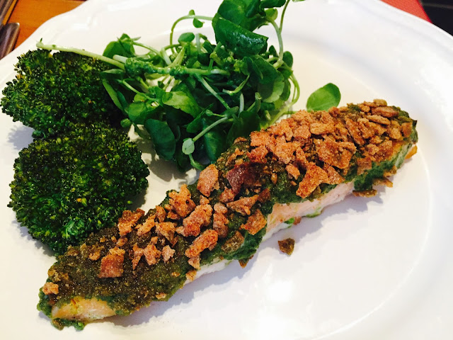 Finn Crisp crusted Salmon with rocket, watercress and spinach pesto