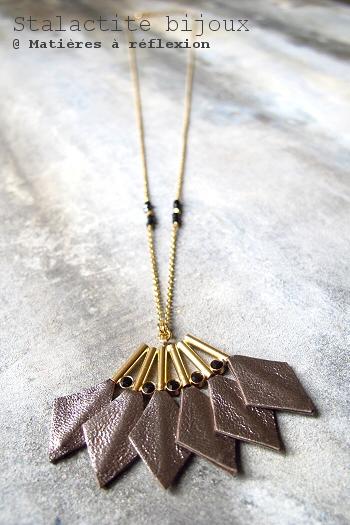 Soldes sautoir Stalactite en cuir bronze