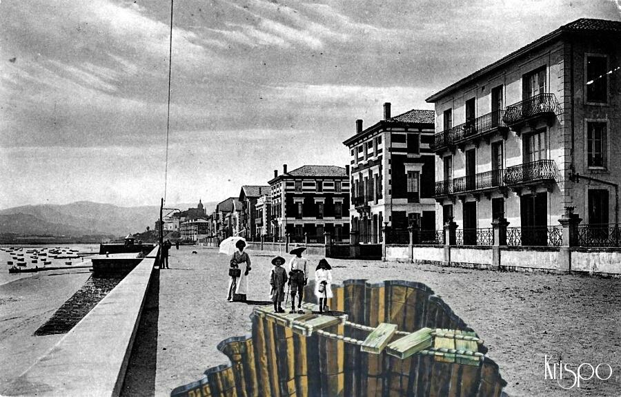 fotografía antigua del paseo butron de hondarribia