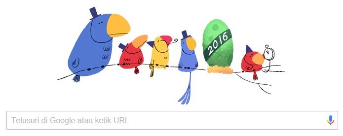 Ada Burung Ucapan Selamat Tahun Baru dari Google Doodle 1 Januari 2016