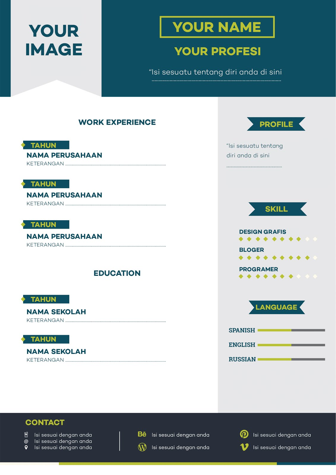 download template curriculum vitae  cv