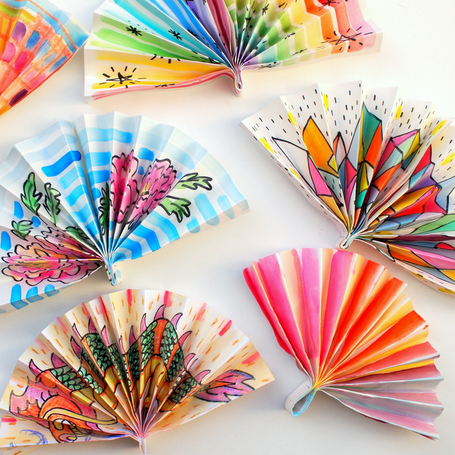 Watercolor Painted Paper Fans