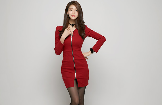1 Jung Yun - Red Dress - very cute asian girl-girlcute4u.blogspot.com