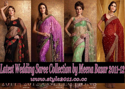 Fashion Dresses 2011 Weding Sarees on Wedding Collection Sarees By Meena Bazar 2011 2012   Latest Bridal
