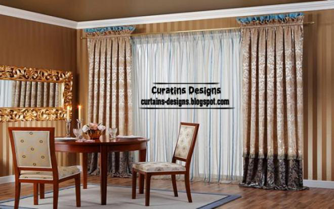 Pleated curtain design, embossed dining room curtain | Curtain ...