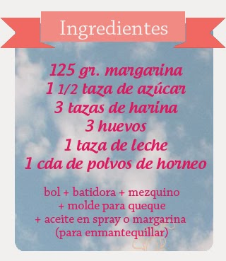 ingredientes para queque