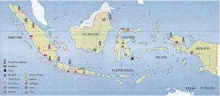 Peta persebaran bahan galian tambang di Indonesia (Sumber: Atlas Indonesia, Dunia & Budaya, Depdikbud)