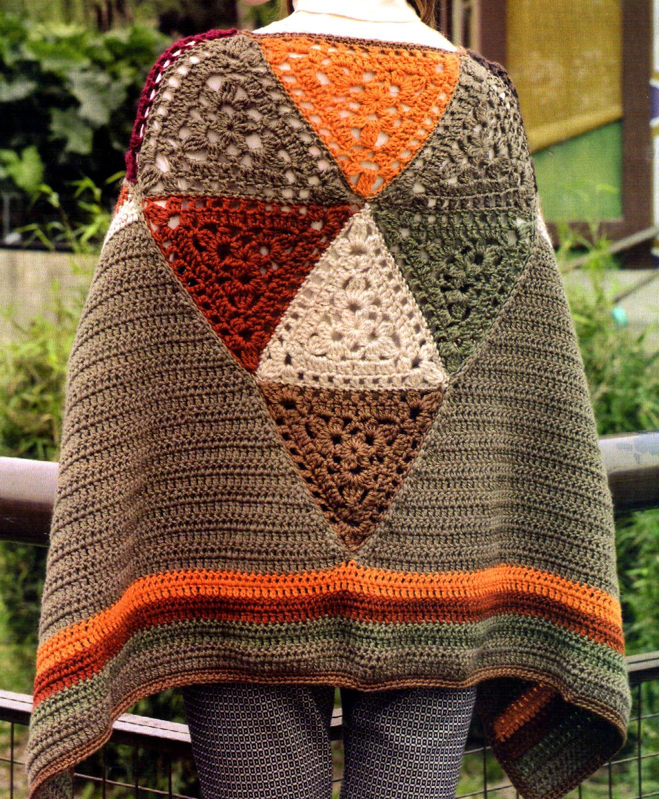 poncho vintage tejido en crochet (espalda)