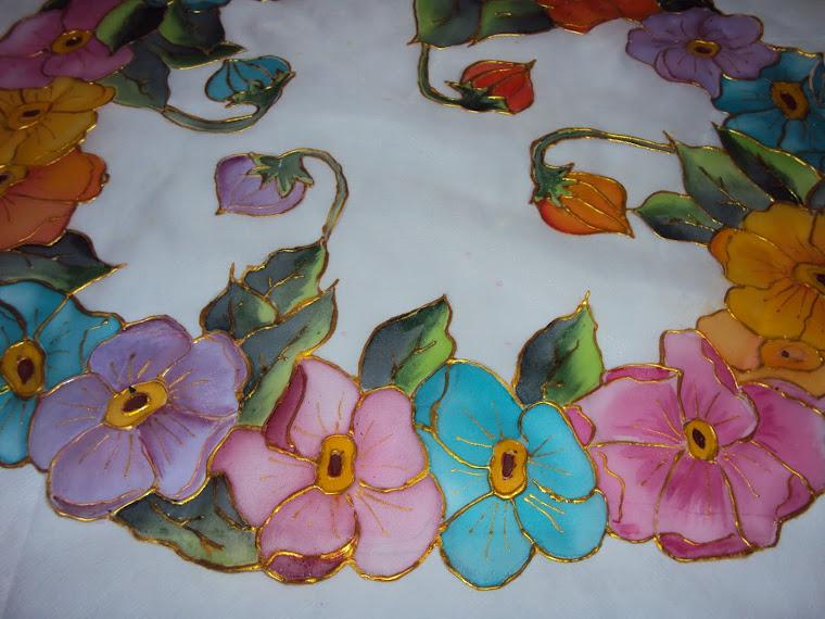 Pintura em Voil - Flores Multicoloridas