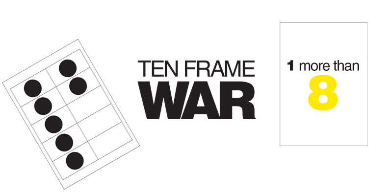 after creating ten frame dominoes i had to make a war version print 2 copies of the ten frame cards and 1 copy of the the 1 more 1 less