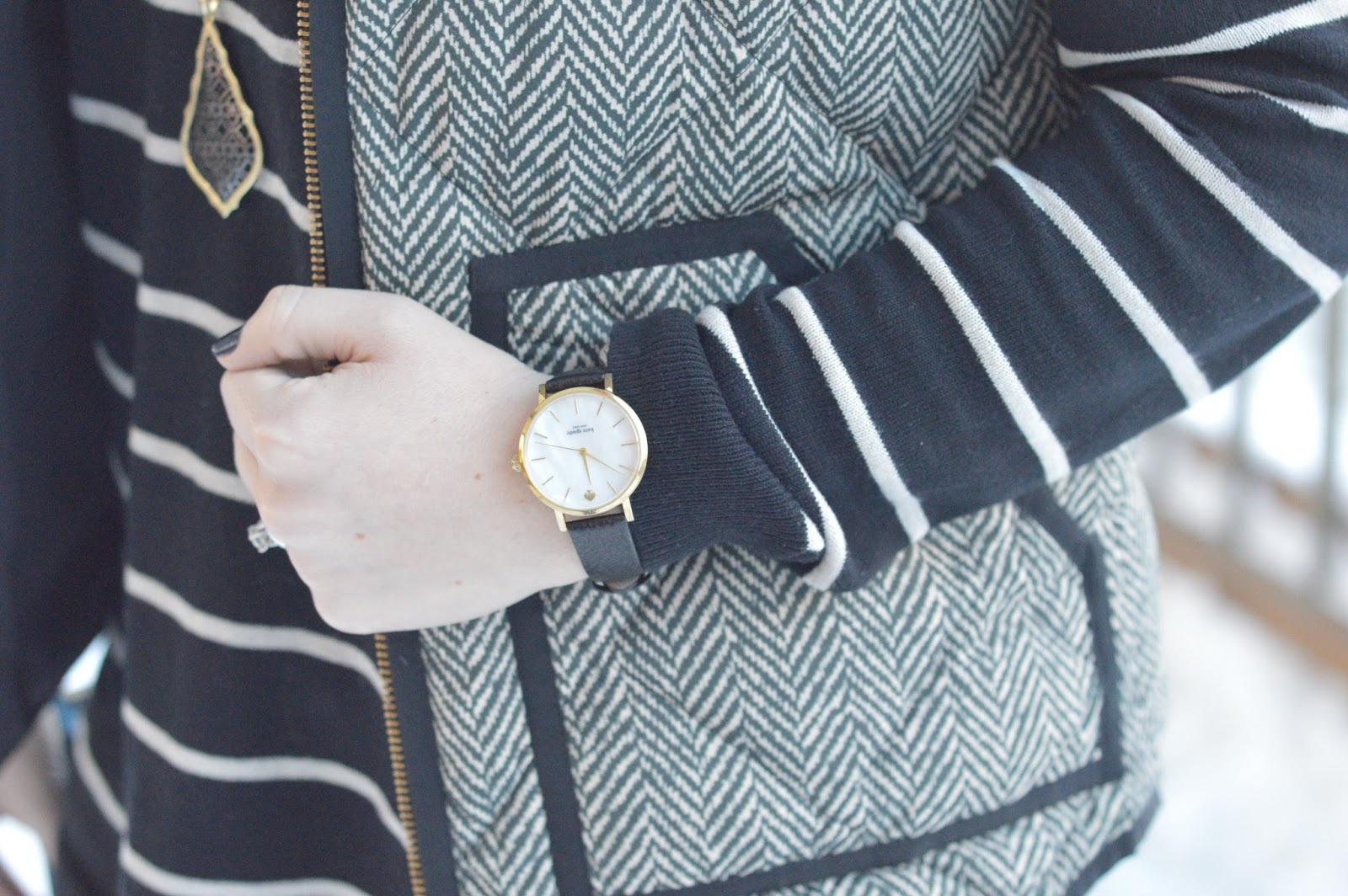 striped tunic with the herringbone vest