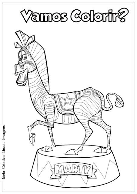 Desenho Marty Madagascar 3 para colorir