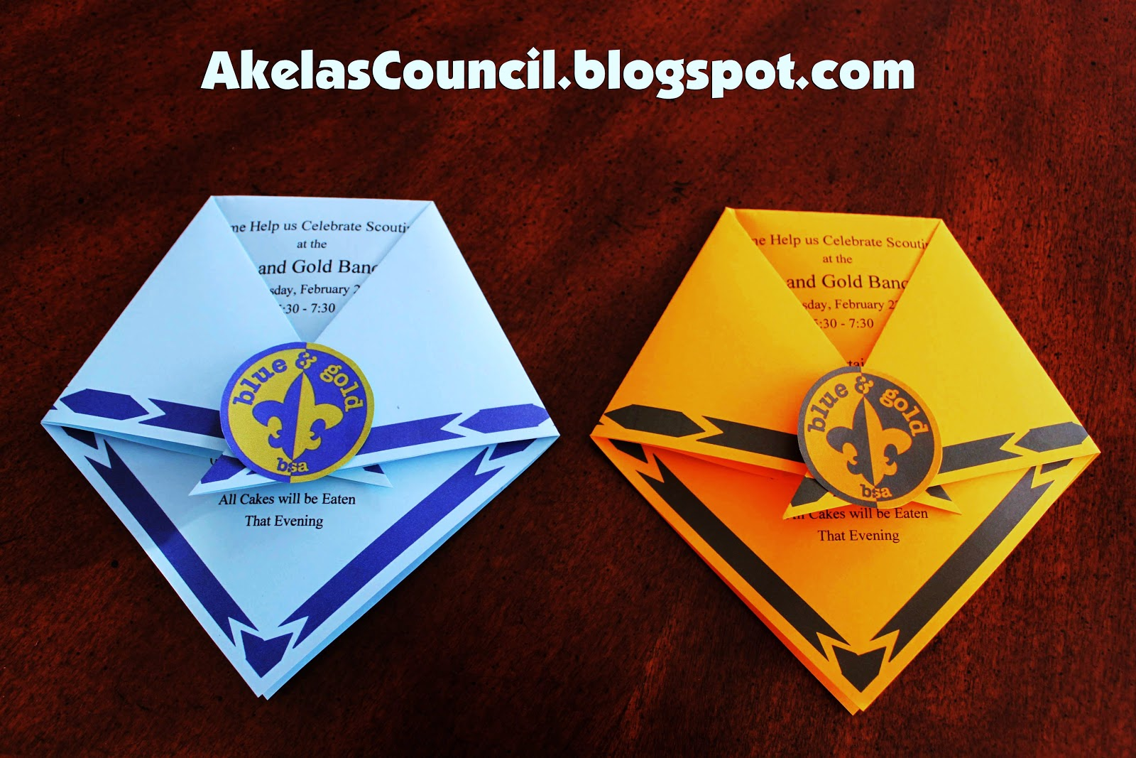 Here is a PRINTABLE idea for a cute invitation for the Blue and Gold