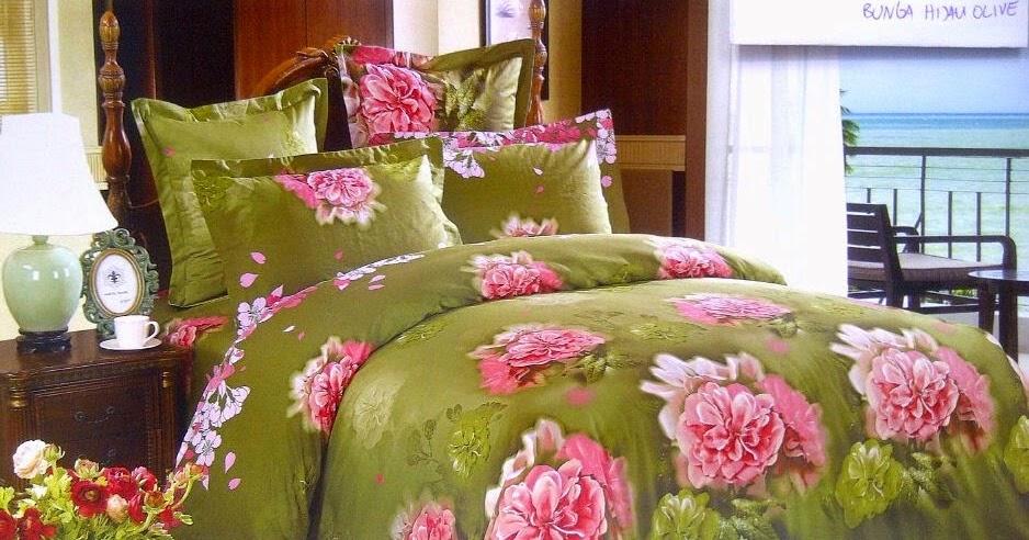 sprei jepang motif bunga hijau olive sprei lovina grosir