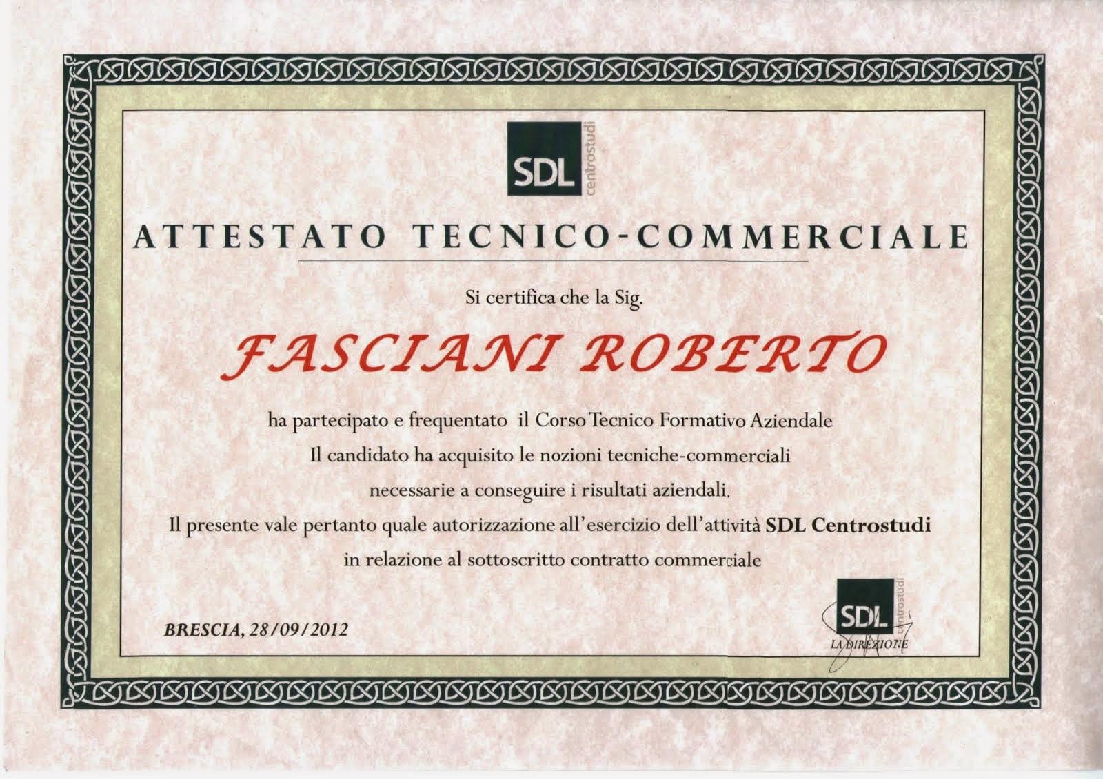 ATTESTATO TECNICO-COMMERCIALE SDL CENTROSTUDI SPA