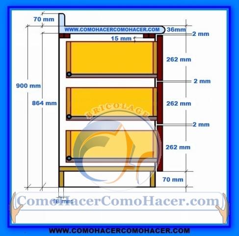Muebles de cocina detalle para instalar cajones for Medidas de gabinetes de cocina