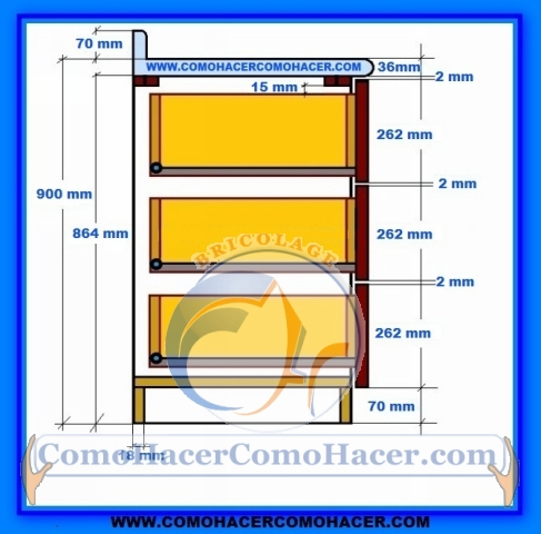 Muebles de cocina detalle para instalar cajones for Medidas de zapateras