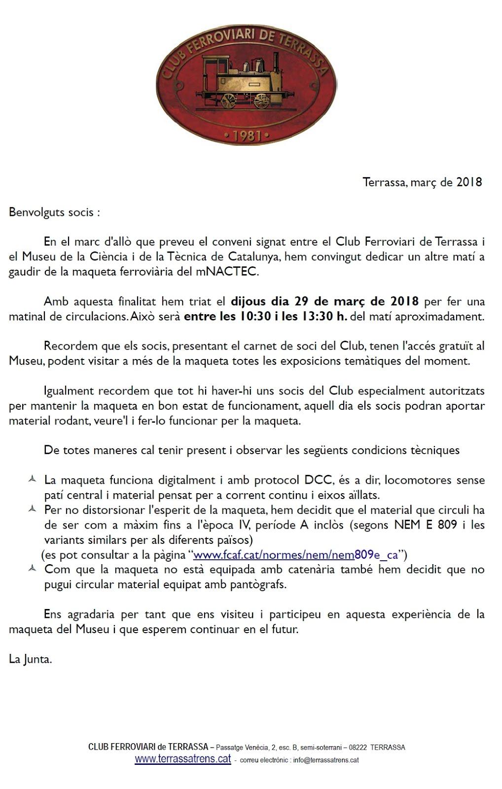 Matinal de Circulacions al Museu Nacional de la Ciència i la Tècnica de Catalunya