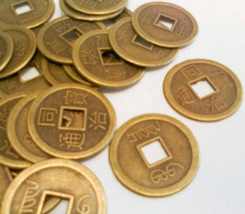 Moeda Chinesa da sorte, riqueza e prosperidade