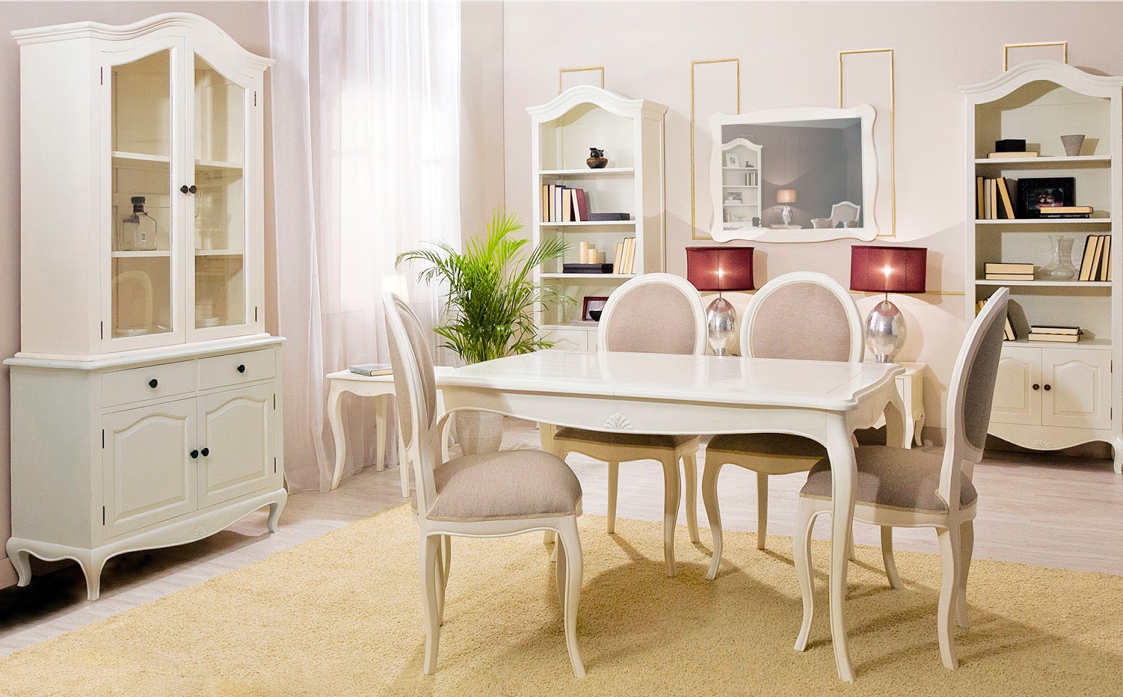 Muebles de comedor 10 comedores con vitrina for Comedor vintage blanco