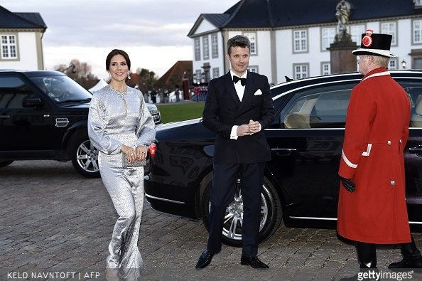 Crown Princess Mary and Crown Prince Frederik of Denmark arrive for the dinner at Fredensborg Castle on the occasion of Queen Margrethe's 75th birthday,